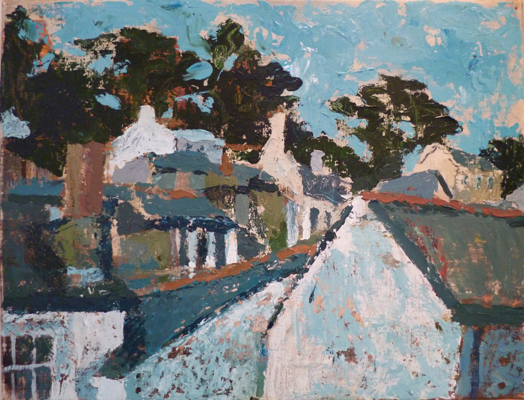 Polperro rooftops, 2015, acrylic on canvas, 16 x 12 in