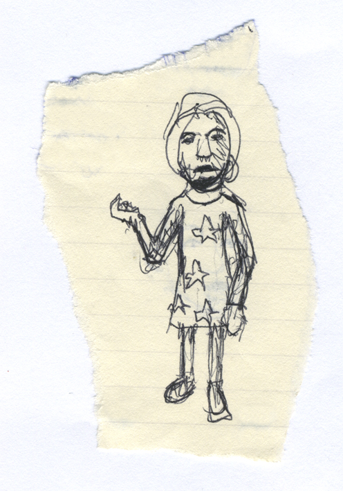 Exotic man in a starry tunic, biro on paper