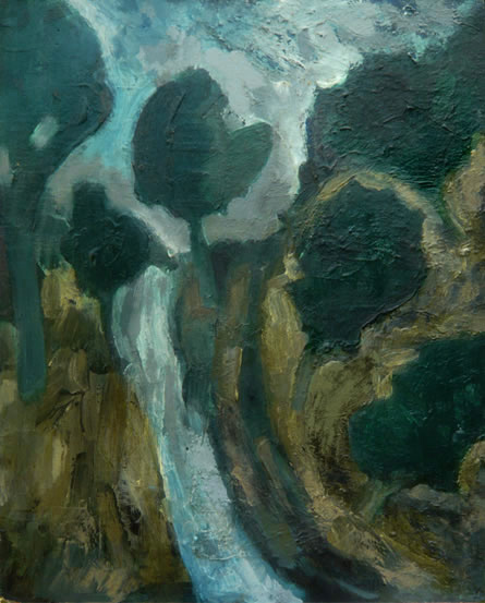 The Hilly Path, 2005, acrylic and oil on board, 35.5 x 45cm