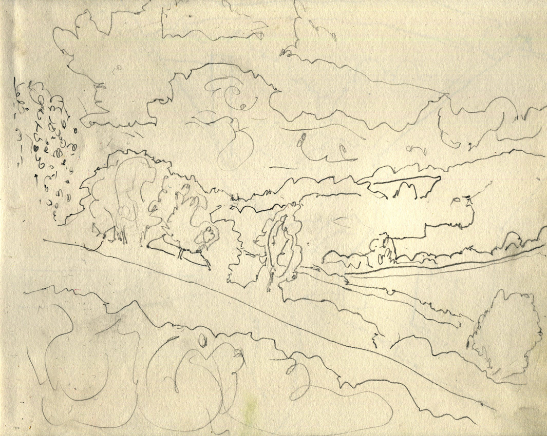 Study for Storm over Slad Valley, pencil om paper