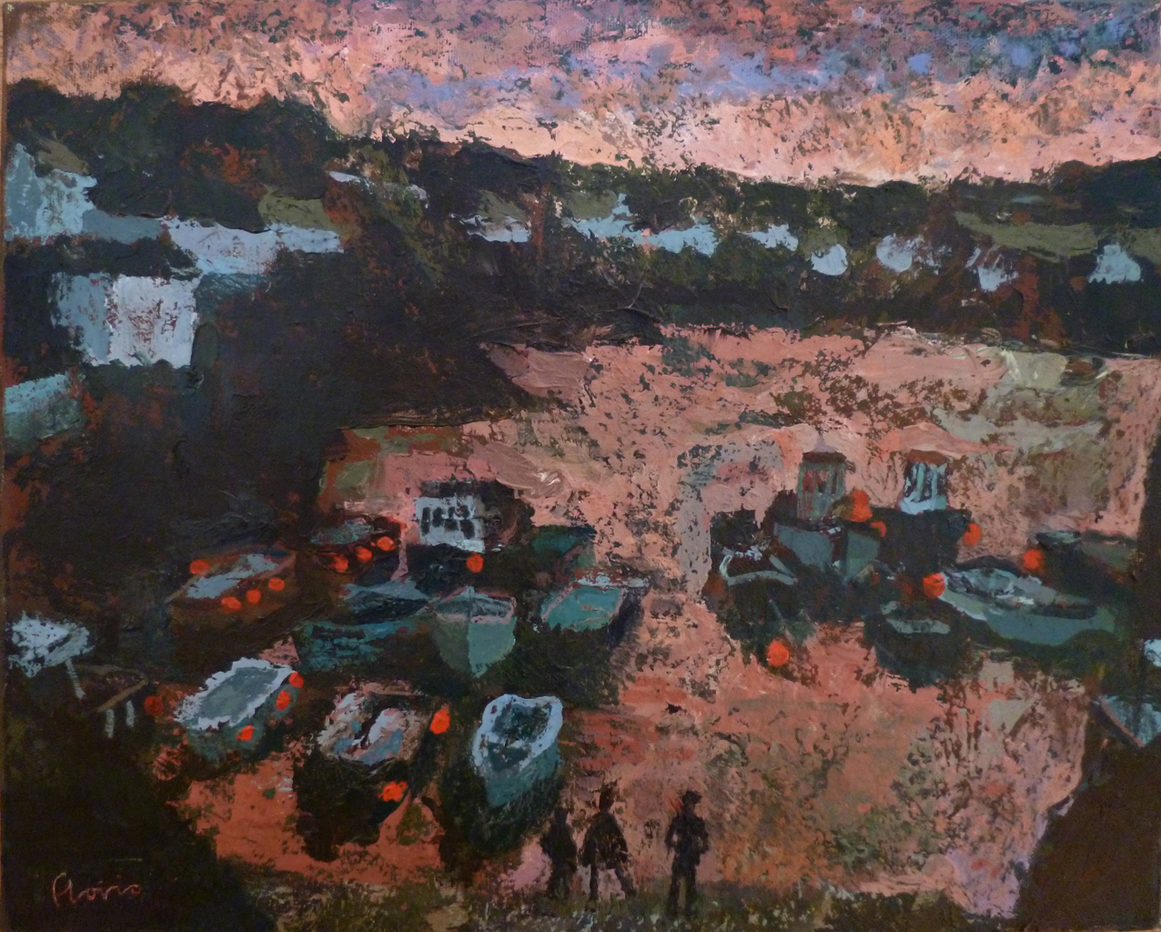 Coverack sunset, 2015, acrylic on canvas, 20 x 16 in