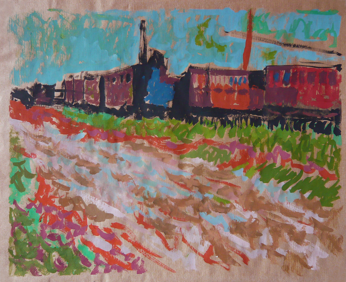 Railway carriages, after Vincent Van Gogh (1888), Gouache on paper