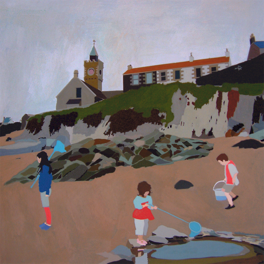 Porthleven beach scene, 2014, gouache on paper