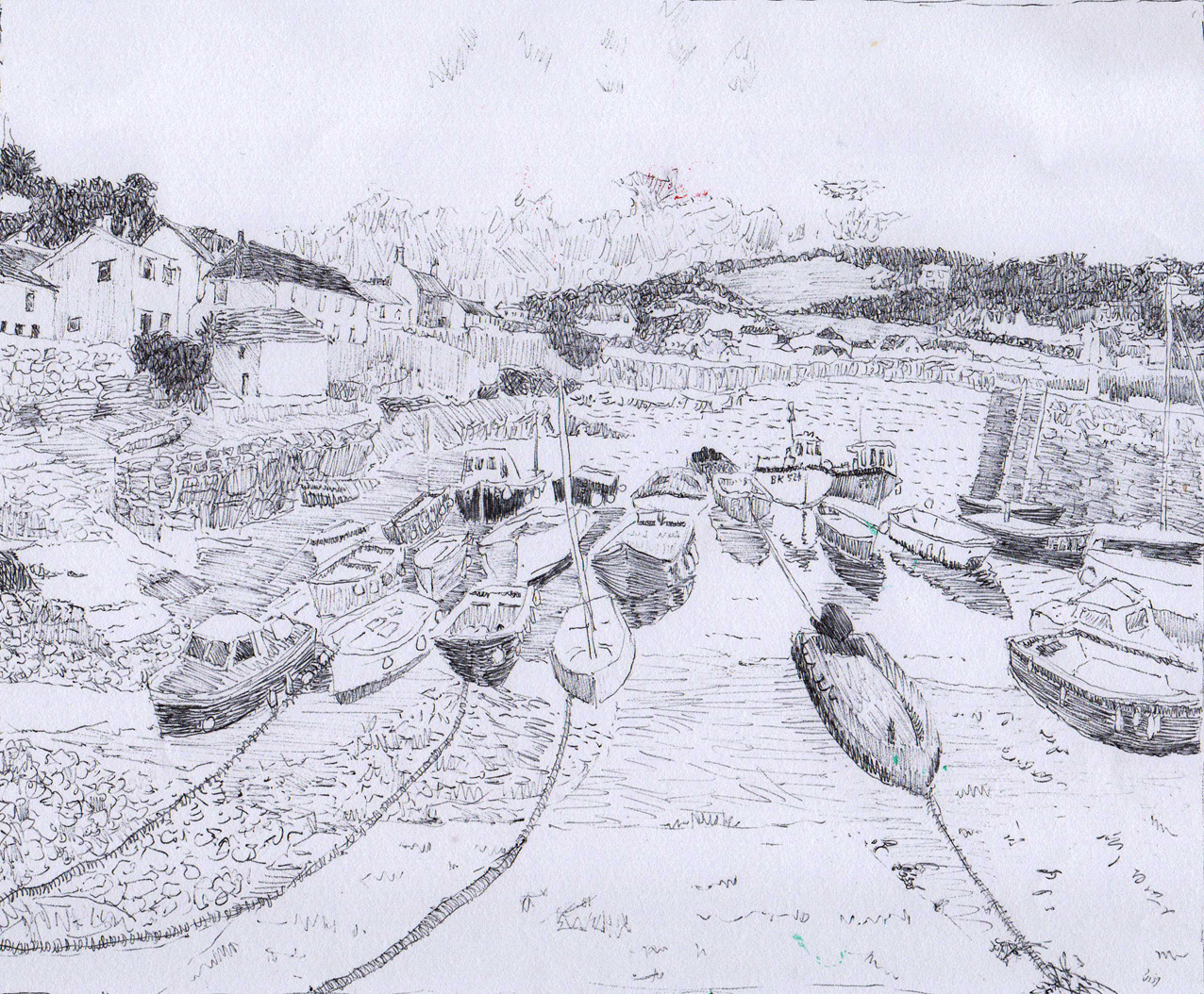 Coverack, biro on paper, 2016