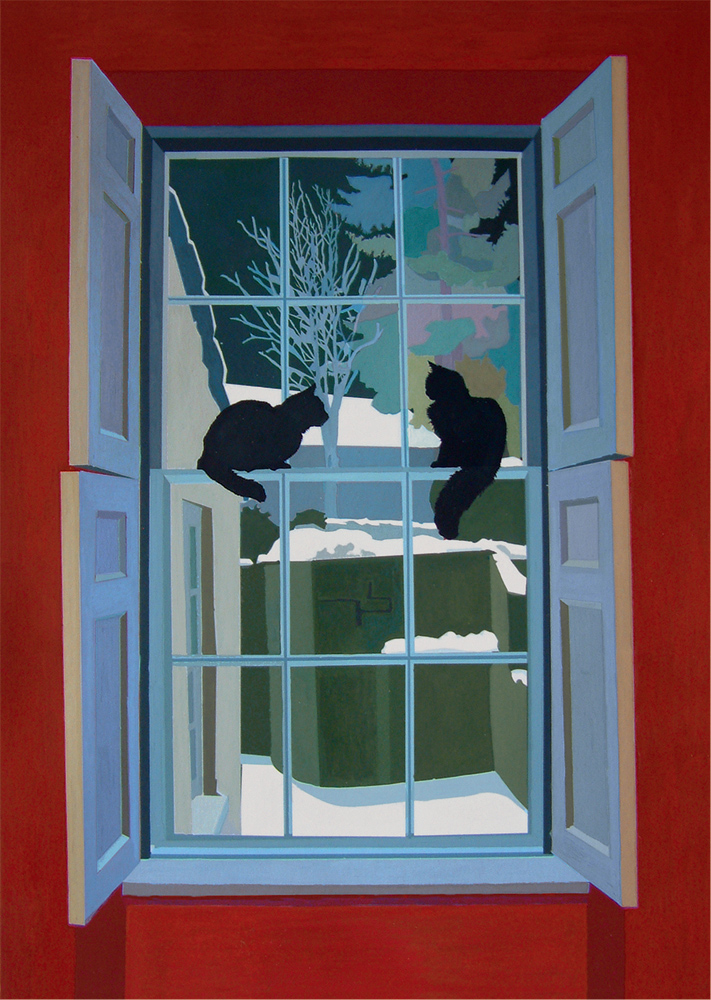 Winter Night, 2014, gouache on paper