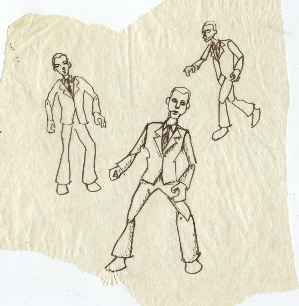 Luke Florio, Office life makes me feel like a <s>robot, </s<s> puppet</s>, zombie, 2000, pen on tracing paper