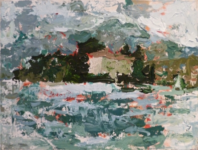 Lake Maggiore, 2015, Acrylic on canvas, 16 x 12 in