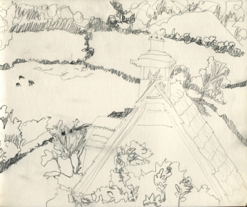 Slad Valley - rooftop, trees & fields, pencil on paper
