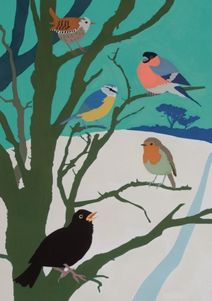 Birds in winter, 2014, gouache on paper