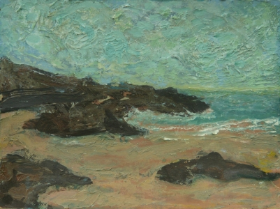 Porthmeor beach, 2003, Acrylic and Oil on cardboard, 40.5 x 30.5 cm