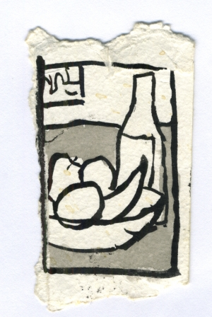 Still life of wine and fruit, ink on paper