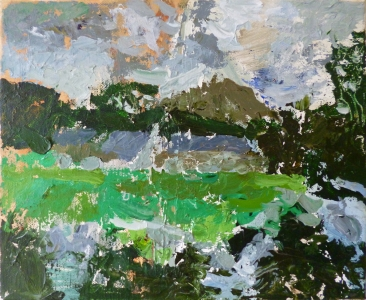 Lake District farm, 2015, acrylic on canvas, 12 x 10 in