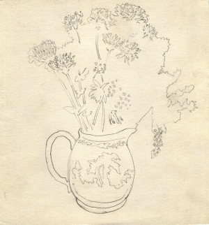 Flowers in a vase, pencil on paper