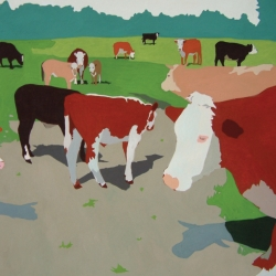 Cows in a meadow, 2014, gouache on paper
