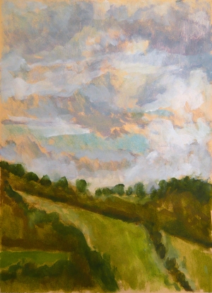 Slad Valley, 2006, Oil on wallpaper, 29.5 x 43cm