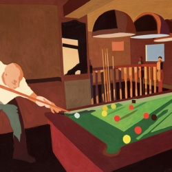The pool players, 2014, gouache on paper