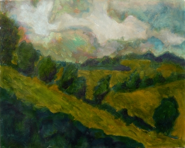 Storm over Slad Valley, 2006, Oil on canvas, 50 x 40cm