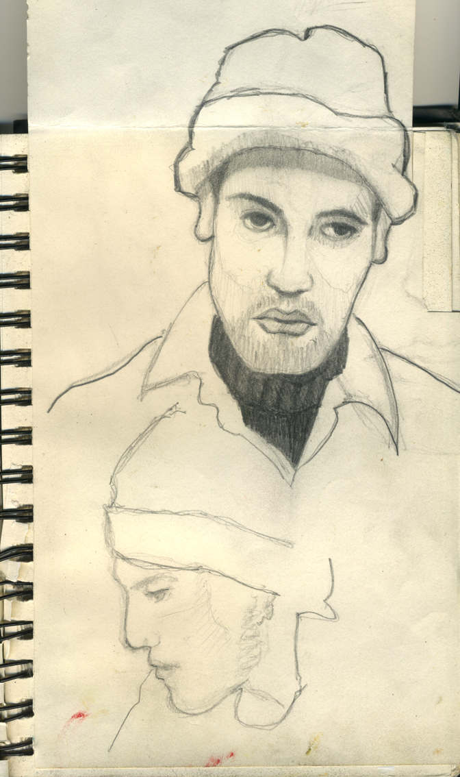 Self portrait and portrait of Tobin, pencil on paper